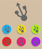 Usb symbol - flat design. Vector illustration Stock Images