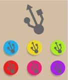 Usb-symbol - plan design också vektor för coreldrawillustration Arkivbilder