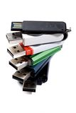 USB thumb drive. Stack of usb thumb drives stock images