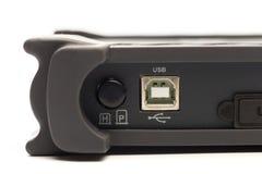 USB-type B input van digitaal signaaloscilloscoop stock afbeelding