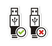 USB διαθέσιμο και διαθέσιμες αυτοκόλλητες ετικέττες USB μη Στοκ Φωτογραφίες