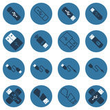 USB vector dark blue flat icons Stock Images