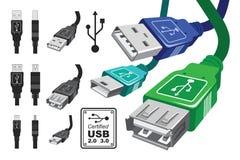 Usb-Verbinderset Lizenzfreie Stockfotos