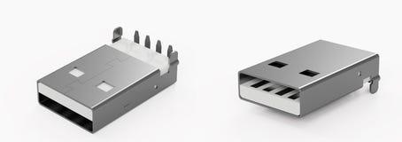 USB-Verbindungsstücke auf dem weißen Hintergrund Stockfotografie