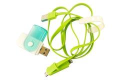 USB verde y memorias USB Imagenes de archivo