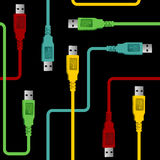 USB wire communication pattern Stock Photos