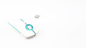 USB Wireless mouse in thin shape with Blue and White color Royalty Free Stock Photography