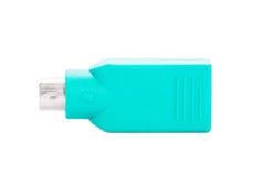 USB zum Adapter des Steckers PS2 lokalisiert auf weißem Hintergrund Stockfoto