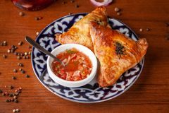 Usbek samsa in der nationalen Platte mit Tomatensauce auf einem hölzernen tabl lizenzfreies stockbild