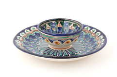 Usbek-Tee-Cup und Wüsten-Platte Stockbild