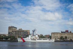 USCGC Vigilant WEMC-617. The USCGC Vigilant WEMC-617 makes a stop in Wilmington, NC, and is moored at the banks of the Cape Fear River Royalty Free Stock Image