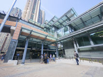 Uscita C1 - l'estensione della stazione di MTR HKU della linea dell'isola al distretto occidentale, Hong Kong Fotografia Stock Libera da Diritti