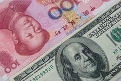 USD与RMB 库存照片