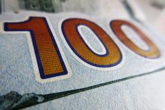 100 USD конца банкноты вверх Стоковое Фото