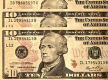 USD 10 d'Etats-Unis de billets d'un dollar se ferment vers le haut Photographie stock
