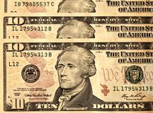 USD 10 United States Dollar Bills Close Up Stock Photography