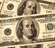 USD 100 United States Dollar Bills Close Up. USD 100 United States Hundred Dollar Bills Close Up as background resources Stock Images