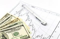 Отчет о диаграммы запаса с ручкой и usd денег Стоковое Изображение RF