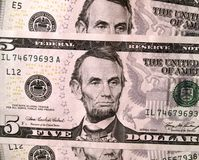 USD 5 d'Etats-Unis de billets d'un dollar se ferment vers le haut Photo libre de droits