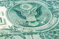 Макрос крупного плана долларовой банкноты США одного, 1 usd банкноты Стоковые Изображения RF