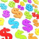 USD american dollar currency sign composition. USD american dollar currency colorful glossy signs composition as abstract business background Royalty Free Stock Images