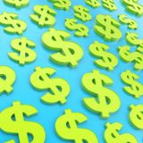 USD american dollar currency sign composition. USD american dollar currency sign bright green and blue composition as abstract business background Royalty Free Stock Photo