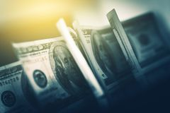 USD American Dollars in Focus. One Hundred American Dollars Banknotes Closeup Photo royalty free stock photo