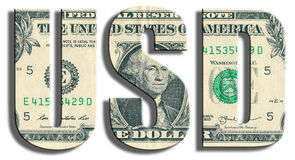 USD - Amerikanisches Dollarsymbol US-Dollar Beschaffenheit Stockfoto