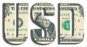 USD - Amerikanskt dollarsymbol US dollartextur Arkivfoto