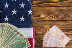 Free USD And Turkish Lira With The American Flag Royalty Free Stock Photo - 124571765