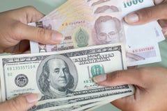 USD au THB Photographie stock libre de droits