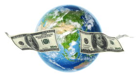 USD Banknotes Around Earth on White (Loop). 100 Dollar bills flying around rotating Earth. Seamless loop. Earth texture map courtesy of NASA stock footage