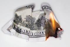 100 USD-brandwond Royalty-vrije Stock Foto's