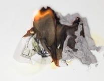 100 USD-brandwond Stock Fotografie