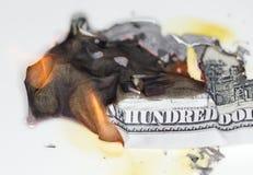 100 USD-brandwond Royalty-vrije Stock Afbeeldingen