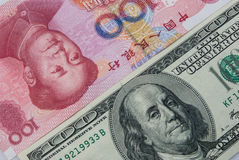 USD contre RMB Photos stock
