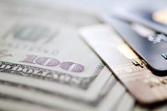 USD and credit card. Selective focus. closeup Stock Images