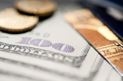 USD and credit card. USD banknote, coins and credit card. selective focus. closeup Stock Photo
