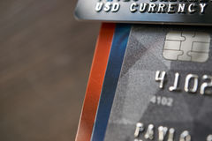 Usd currency payment credit cards with accumulation stock photo