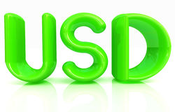 USD de texto de 3d Fotos de archivo libres de regalías