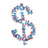 Usd di simbolo del dollaro fatto delle pillole Fotografie Stock