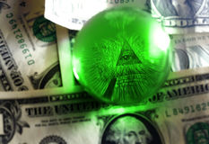 Usd dollar bill eye pyramid Stock Photo