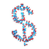 Usd dollar symbol made of pills Stock Photos