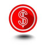 USD-Dollarsymbol der amerikanischen Währung in der roten Kreisform im modernen flachen Design mit langem Schatten stock abbildung