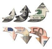 USD ENCIMA DE RMB ABAJO Imagen de archivo libre de regalías