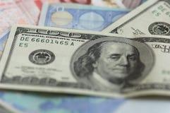 USD et notes d'euro Photographie stock libre de droits
