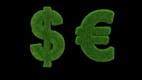USD EUR grass loop. Currency symbol made of grass looping with matte stock video