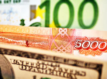 USD,EUR and Russian RUB baknotes. Stock Images