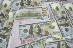 100 Usd and 500 Euro banknotes.  Royalty Free Stock Images