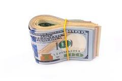 100 usd geïsoleerde dollars Royalty-vrije Stock Afbeelding